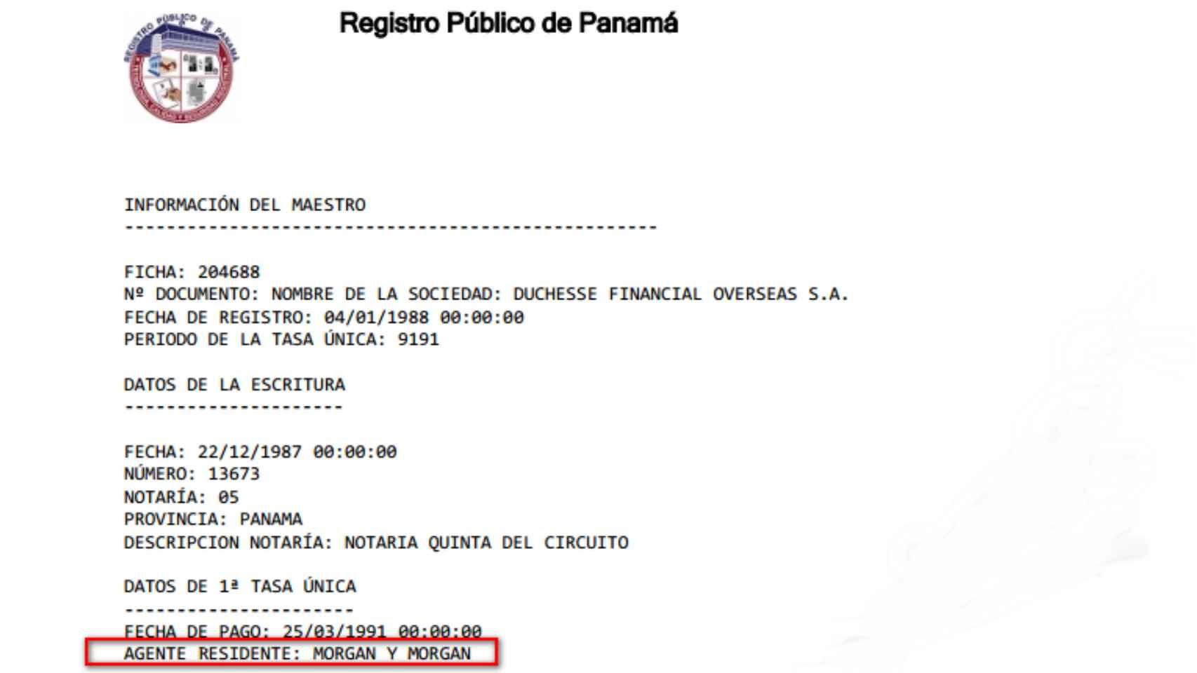 Documento del registro público panameño.