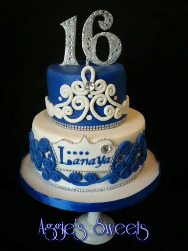 Royal Blue and White Sweet 16 Cake   Aggie's Sweets