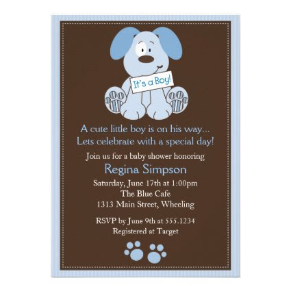 Cute Puppy Dog Baby Shower Invitation Blue