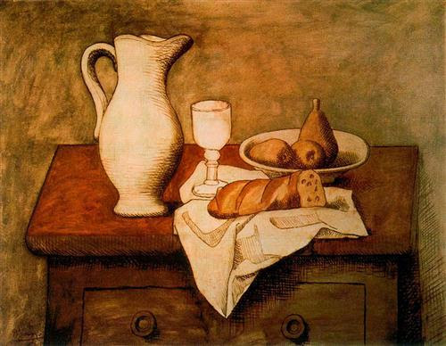 Still life with jug and bread - Pablo Picasso