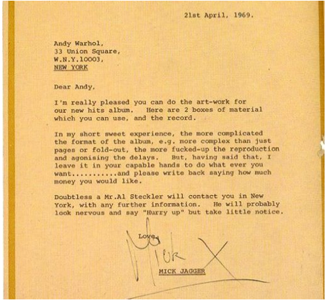 hydeordie:  Mick Jagger's letter to Andy Warhol