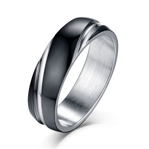 Black and Silver Titanium Steel Men's Ring   Lajerrio Jewelry