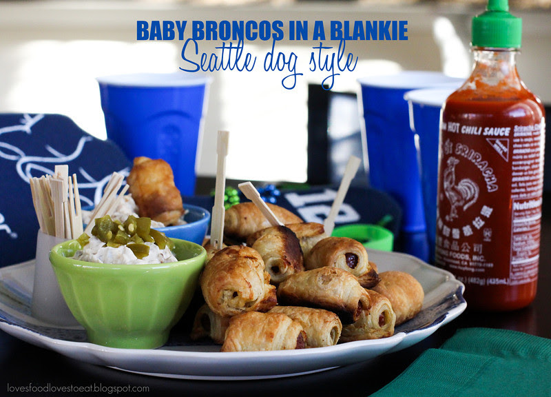 Pigs 'n a Blanket with Grilled Onion Cream Cheese Dip (AKA Baby Broncos in a Blankie, Seattle Dog Style) // Loves Food, Loves to Eat