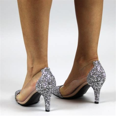 silver transparent glitter shoes pointed toe pumps stiletto heels  party dancing club