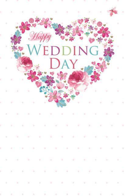 Happy Wedding Day Flower Heart Design Bright Modern Just