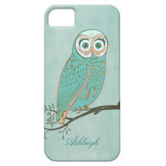 Girly Abstract Modern Teal Green Owl Monogram