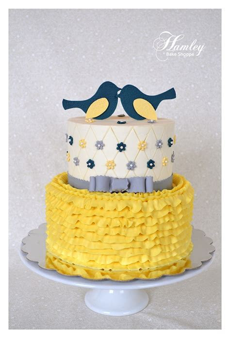 Shabby Chic Bridal Shower Cake (Navy, Yellow, and Blue