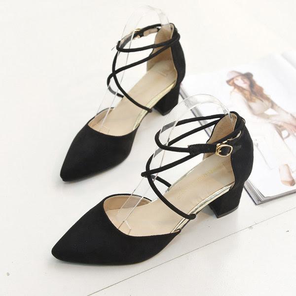 De punta estrecha zapatos planos zapatos de las señoras de tacón gruesas atractivas poco profundos zapatos de la boca de la hebilla