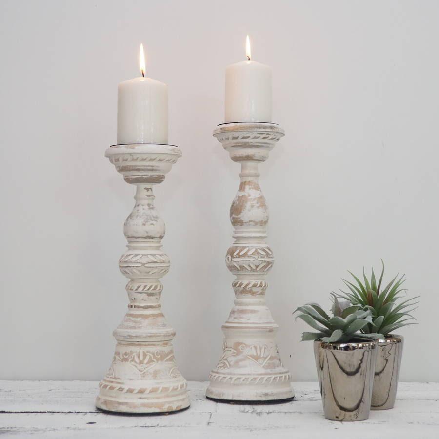 white distressed wooden candlestick by za za homes ...