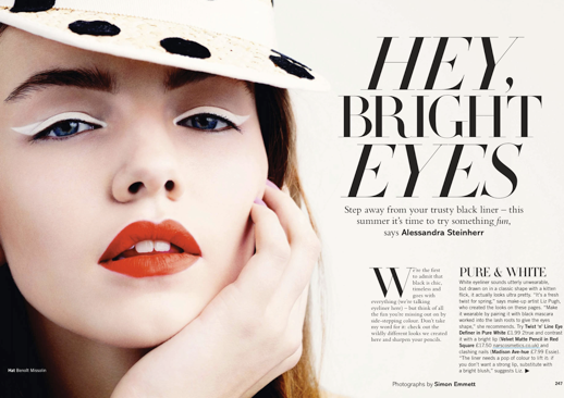 LE FASHION BLOG BEAUTY EDITORIAL GLAMOUR UK BRIGHT EYES POLKA DOTS WHITE CAT EYE LINER RED LIPS 1