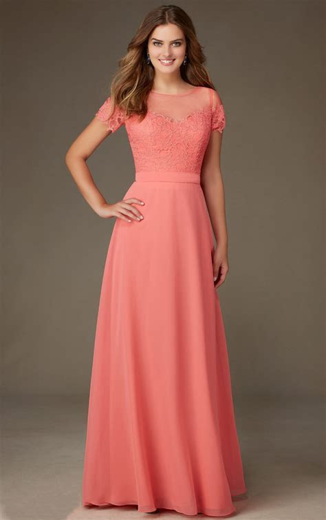 Coral Lace Bodice Short Sleeved Long A line Chiffon