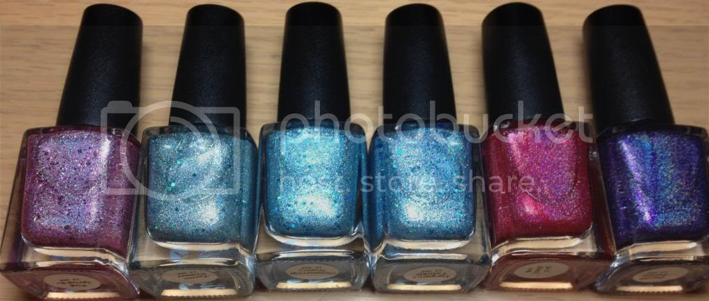 CbL Colors by Llarowe Spring Frenzy Nail Mail Holo Glitters Pink Twinkle Oops, Tazmo Kramer, Shimmering Waters, Turquoise Twinkle, Bea Stings and Purple Pizazz.