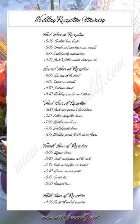 Wedding itinerary examples @ Remedio amioron serve pra q