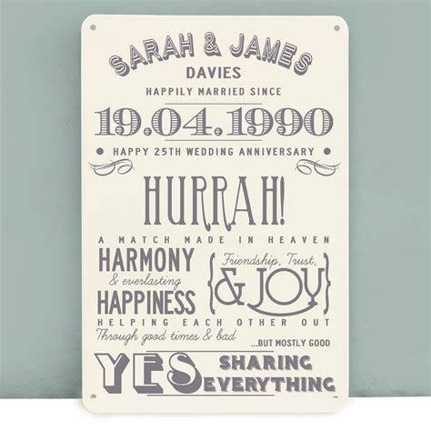 personalised silver wedding anniversary metal print by