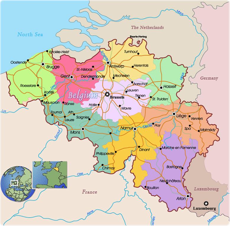 Belgium European Map World Map Gray