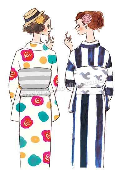 レトロ着物女性イラスト イラストレーター小関恵子の仕事帖関西在住