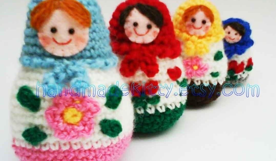 Onigiri Couple Amigurumi Free Crochet Pattern : HandmadeKitty: Russian Matryoshka amigurumi babushka Dolls ...