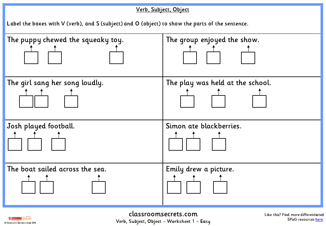Verb Subject Object KS2 SPAG Test Practice Classroom