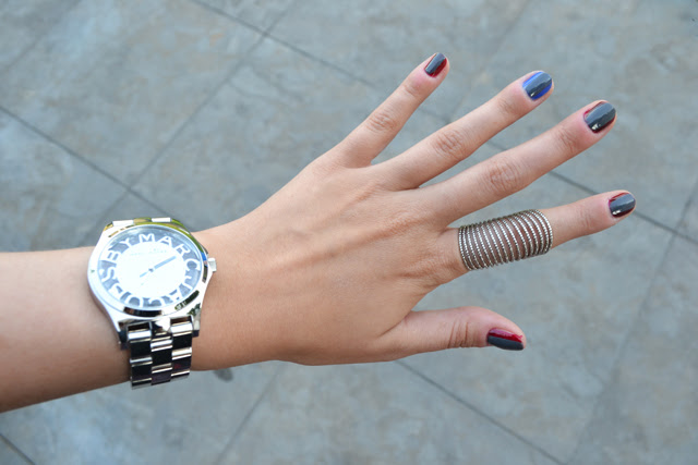 Nails of today post by fashion blogger turn it inside out using Essie nail polish and Gosh. Bouncy it's me, Miss grey and skirting the issue nail swatches marc by marc jacobs henry skeleton watch