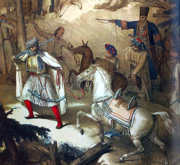 Πέρασμα στην Πίνδο. Στις δυτικές περιοχές της Οθωμανικής Αυτοκρατορίας τον έλεγχο του οδικού και εμπορικού δικτύου είχαν διευρυμένες βλάχικες οικογένειες.