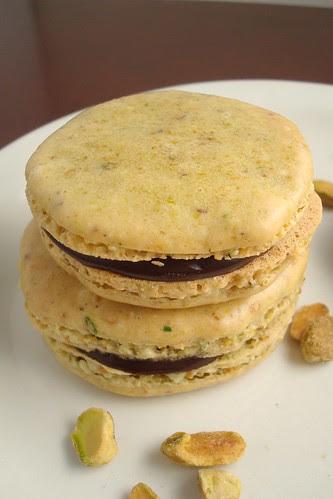 Pistachio Macarons with Chocolate Ganache