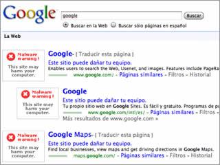 Google fins i tot mostrava problemes a la seva pròpia pàgina.