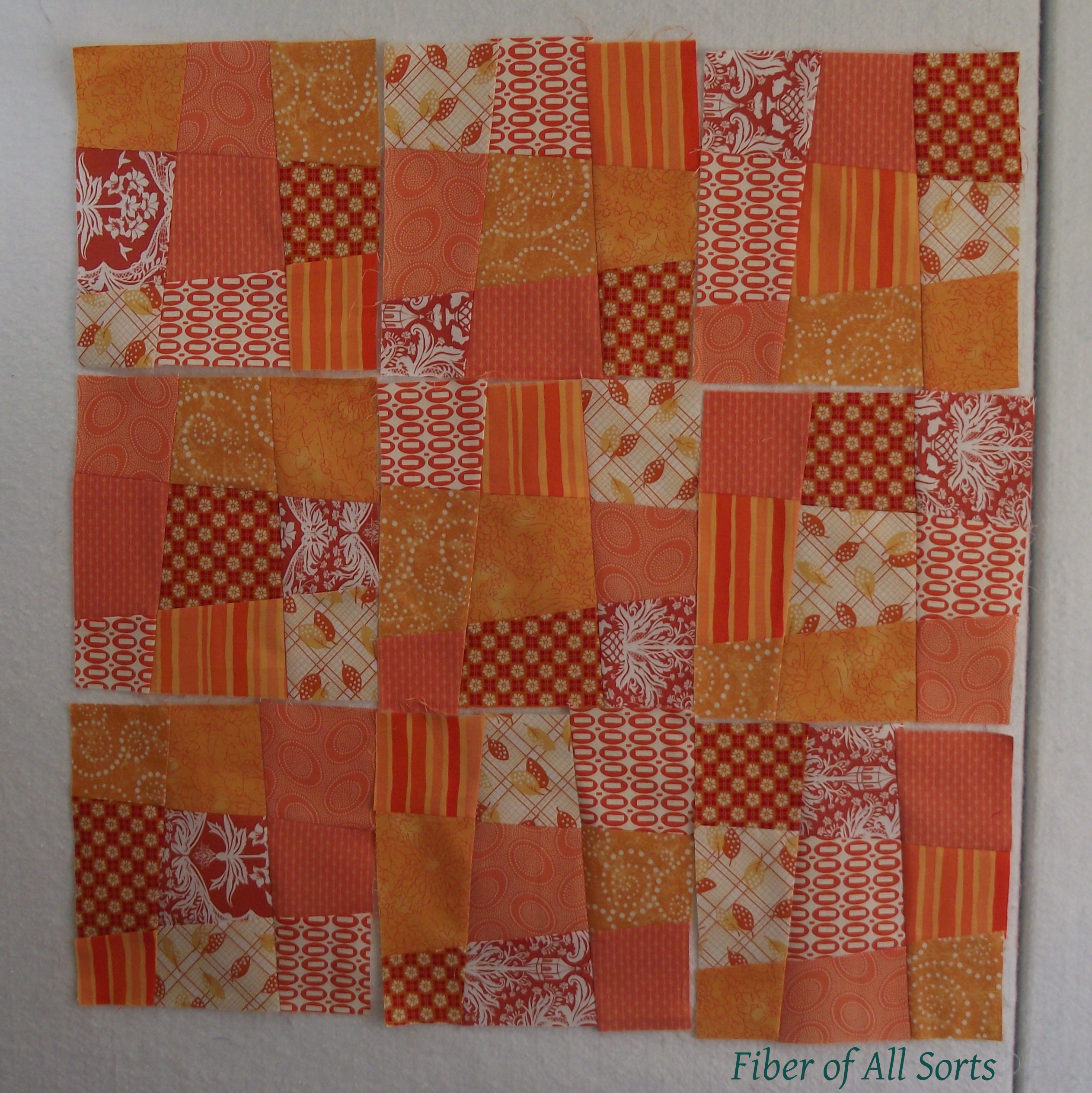 Crazy nine patch orange-style