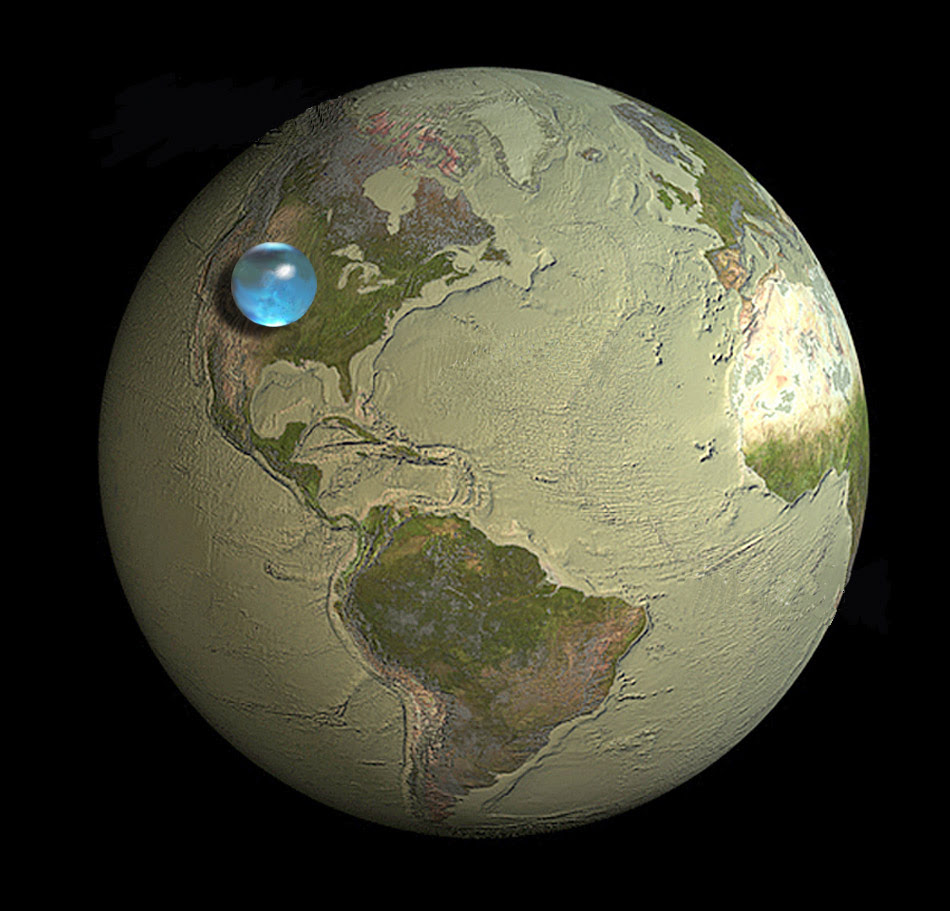 Drawing of Earth showing if all Earth's liquid water was put into a sphere it would be labout 860 miles (1,385 kilometers) in diameter.