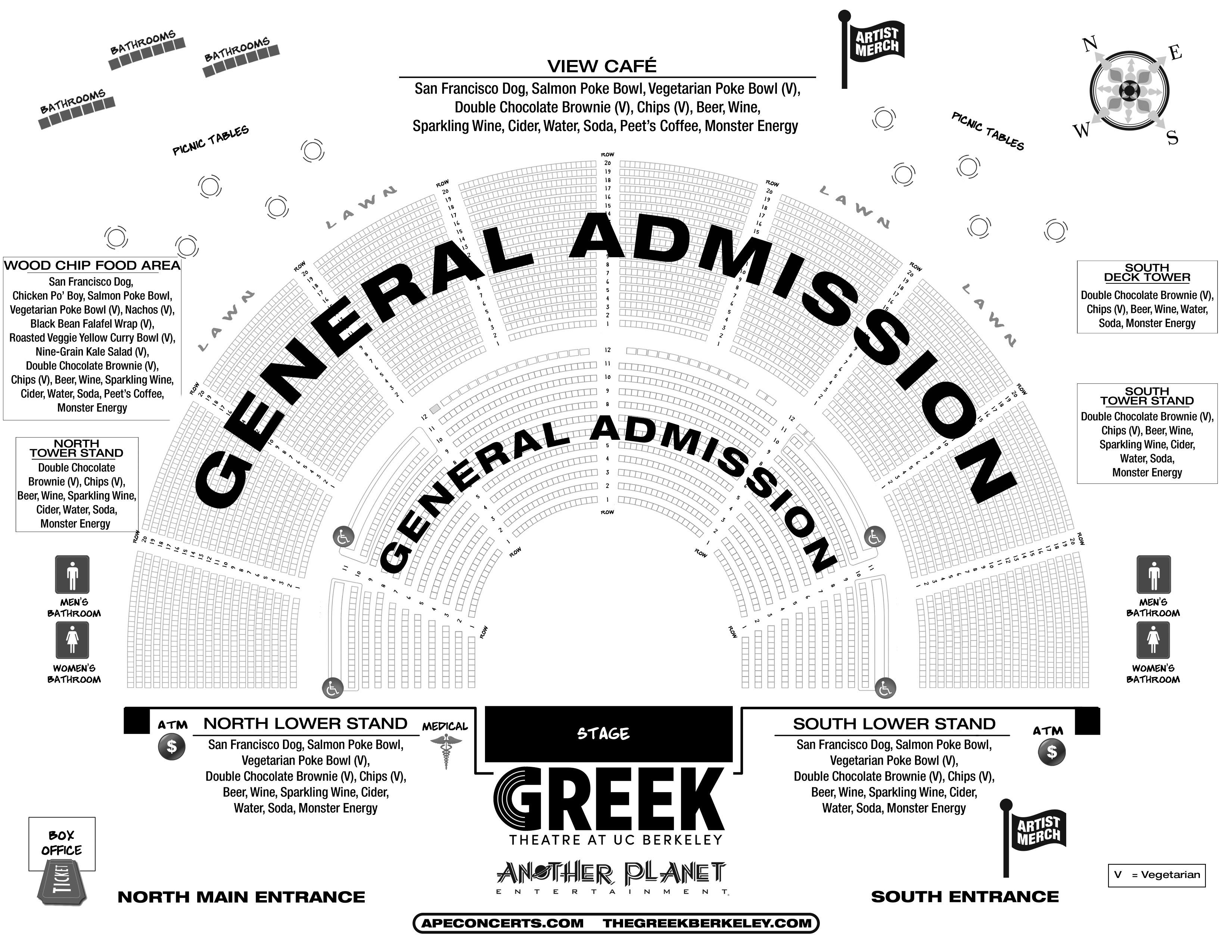 Greek Theater Seating Chart Berkeley