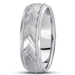 Herringbone Pattern Designer Wedding Band   BA101082   14K