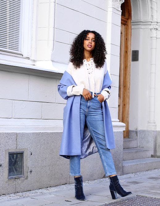 Le Fashion Blog Powder Blue Long Coat White Lace Up Sweater Light Wash Denim Velvet Boots Via Salem Colin