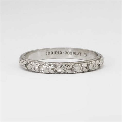 Authentic 1930's Art Deco Floral Eternity Wedding Band