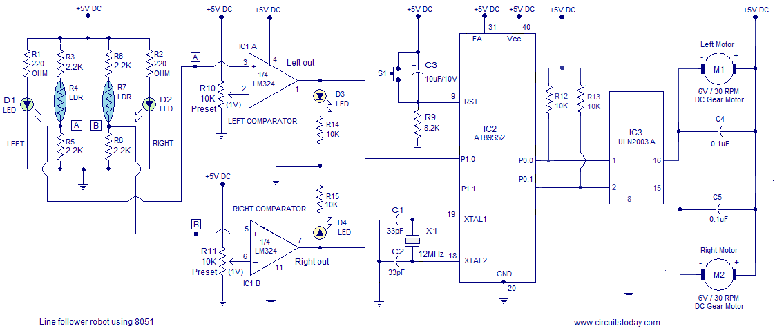 line follower robot circuit