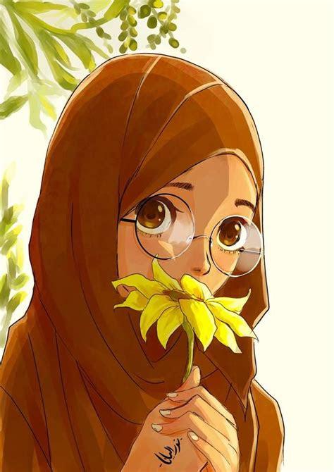 hijab animasi images  pinterest anime muslim