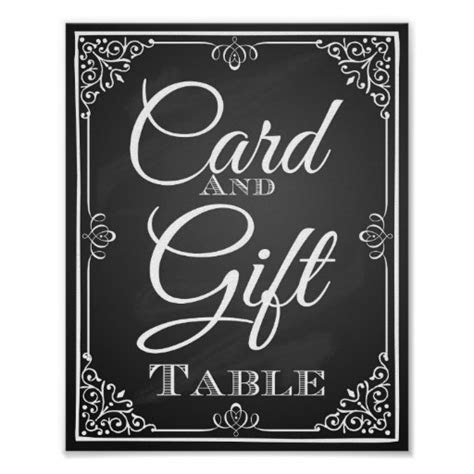 Wedding sign card and gift table chalkboard poster   Zazzle