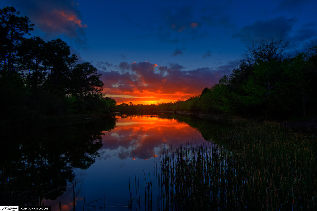 Sunset Over Lake In Palm Beach County Florida
