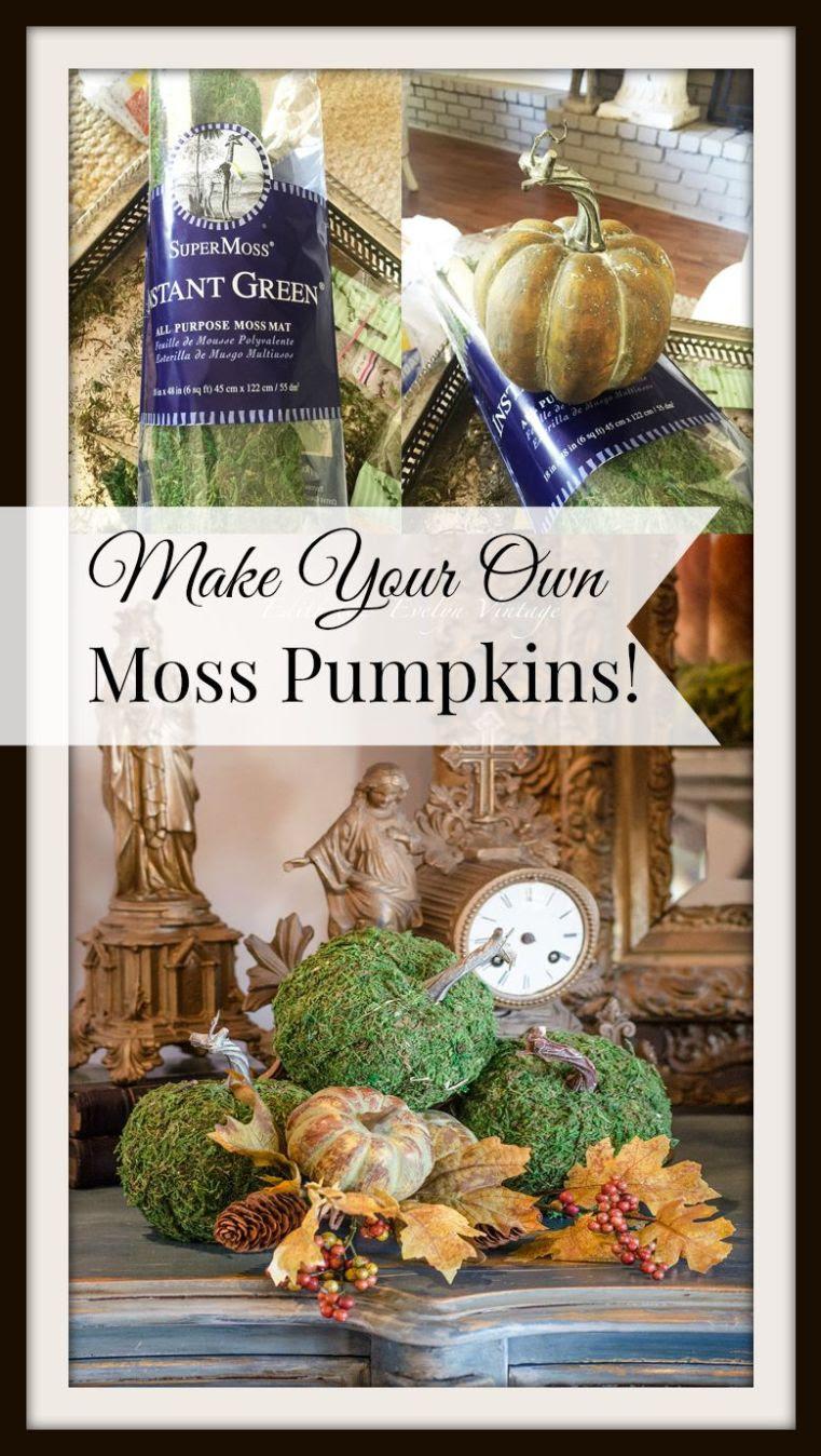 DIY Moss Pumpkins | Edith & Evelyn Vintage | www.edithandevelynvintage.com