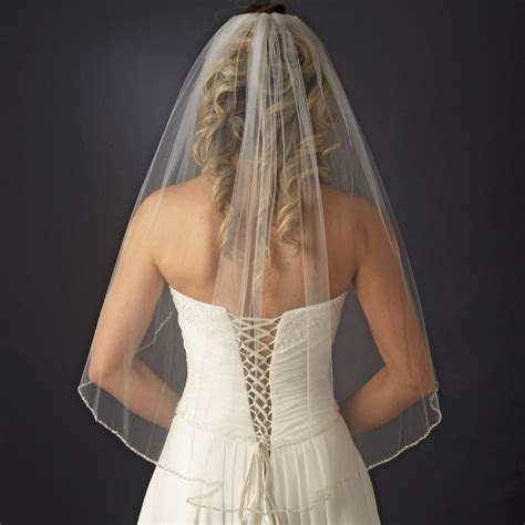 Single Tier Veil with Pearl & Bugle Beaded Edge in White