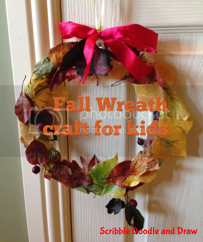 Fall wreath craft made by kids