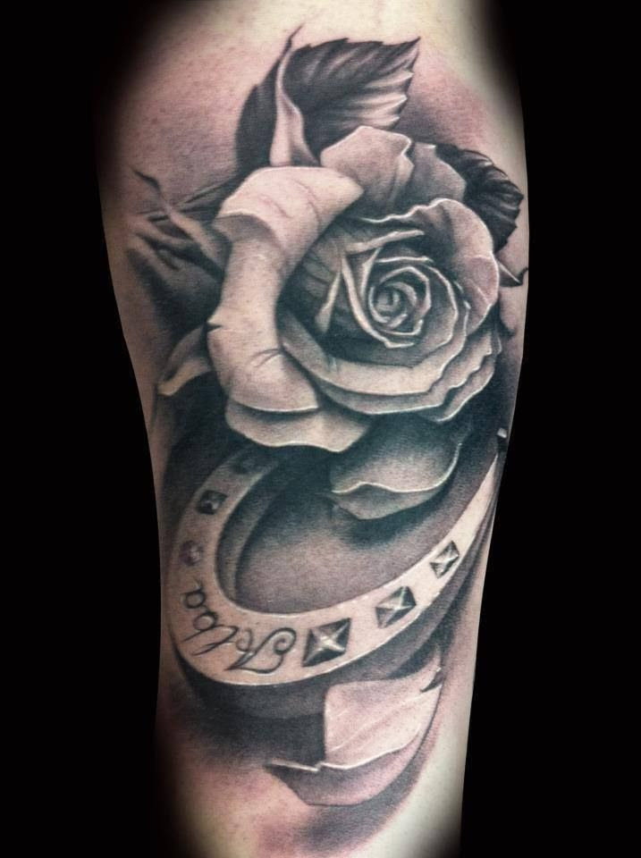 White Black Rose And Horse Shoe Tattoo Tattoomagz