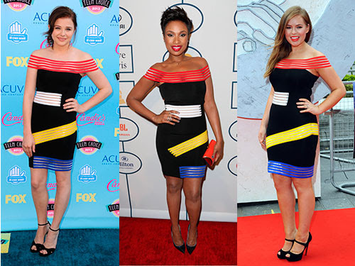 Well this Christopher Kane dress is popular, isn't it? The black, shoulderless dress, featuring bright strips of fabric, was worn by Chloe Moretz at the Teen Choice Awards, Tanya Burr at the Divergent premiere and Jennifer Hudson at a pre-Grammy gala. Tres chic ladies! WHAT DID THE CELEBS WEAR ON THE BRITS RED CARPET? CELEBRITY FRONT ROW FASHION AT LFW SEE CELEBS LOOKING FINE AT THE BAFTAS 2014