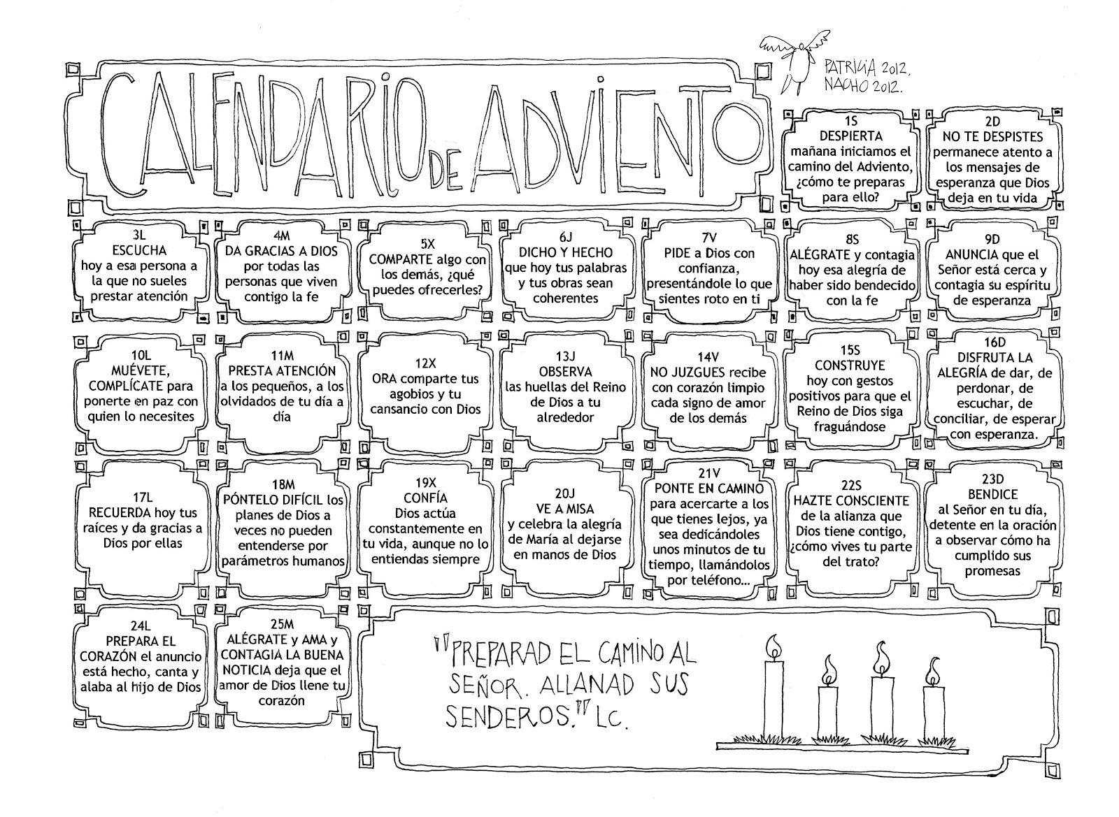 Parroquia la inmaculada calendario de adviento 2012 for Calendario adviento ninos