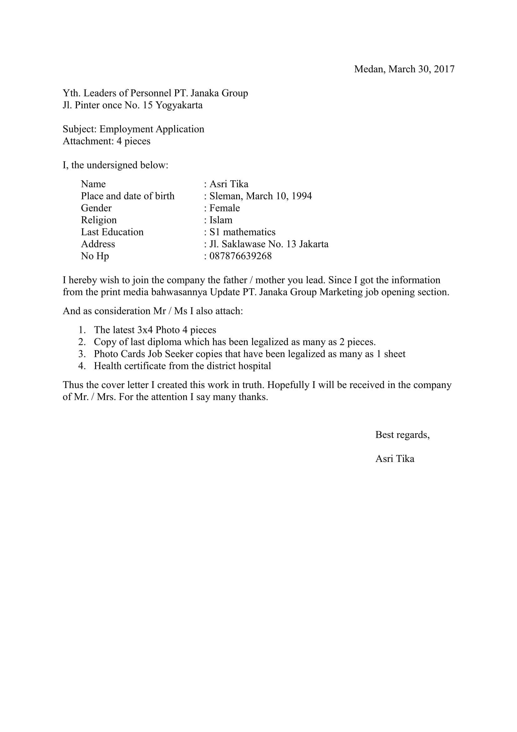 Contoh Surat Lamaran Kerja Bahasa Inggris Conceptslasopa