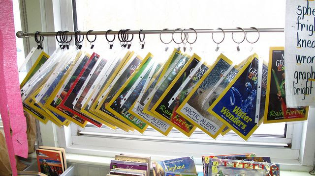 Magazine display idea for the classroom library!