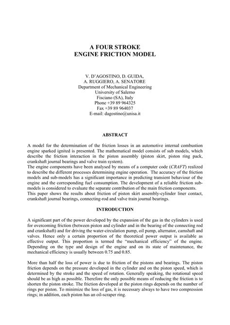 (PDF) A FOUR STROKE ENGINE FRICTION MODEL