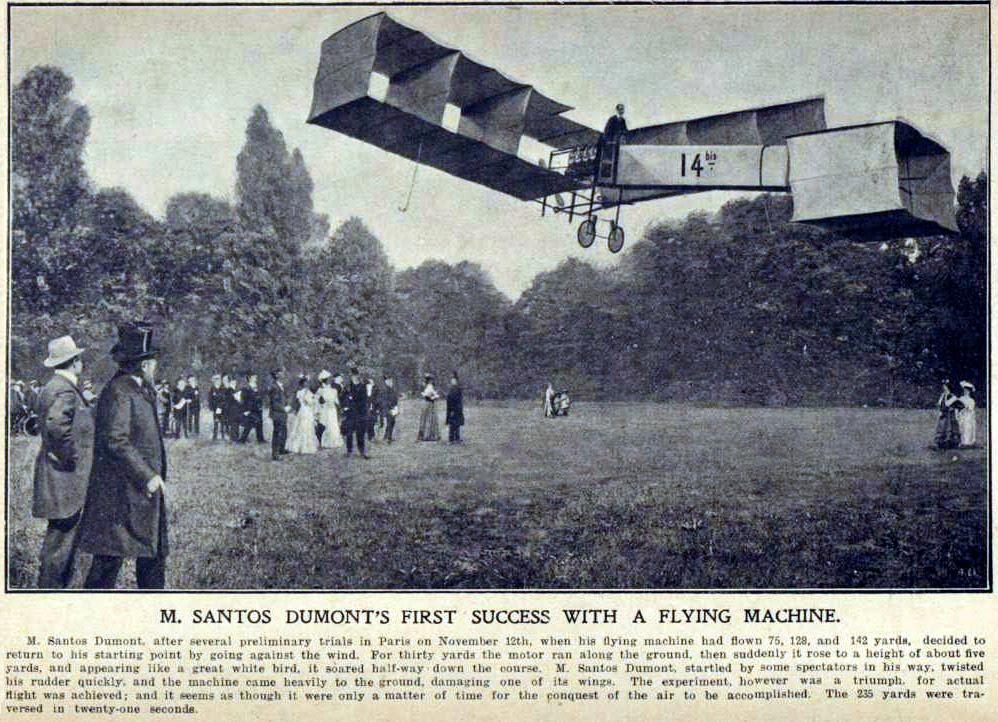 Ilustração do voo do Santos-Dumont 14-bis em 12 de novembro de 1906, nosso gênio da aviação.