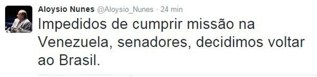 O senador Aloysio Nunes informou, em seu Twitter, que o grupo de senadores decidiu retornar ao Brasil (Foto: Reprodução/Twitter)