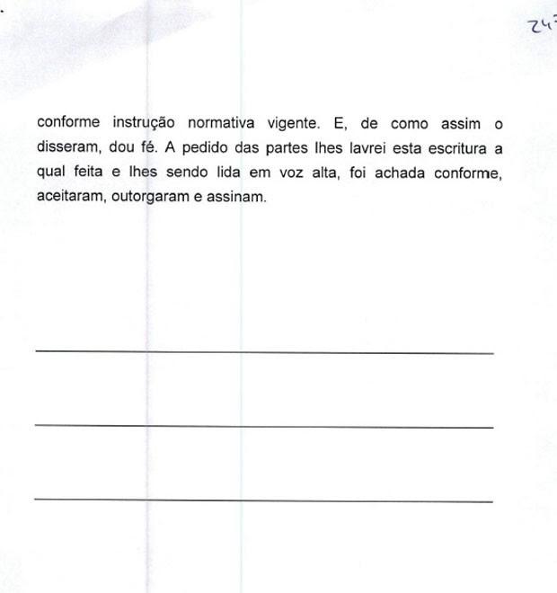 Minuta de contrato de venda do sítio em Atibaia para Lula pag.6, que mostra que documento não foi assinado (Foto: Reprodução)