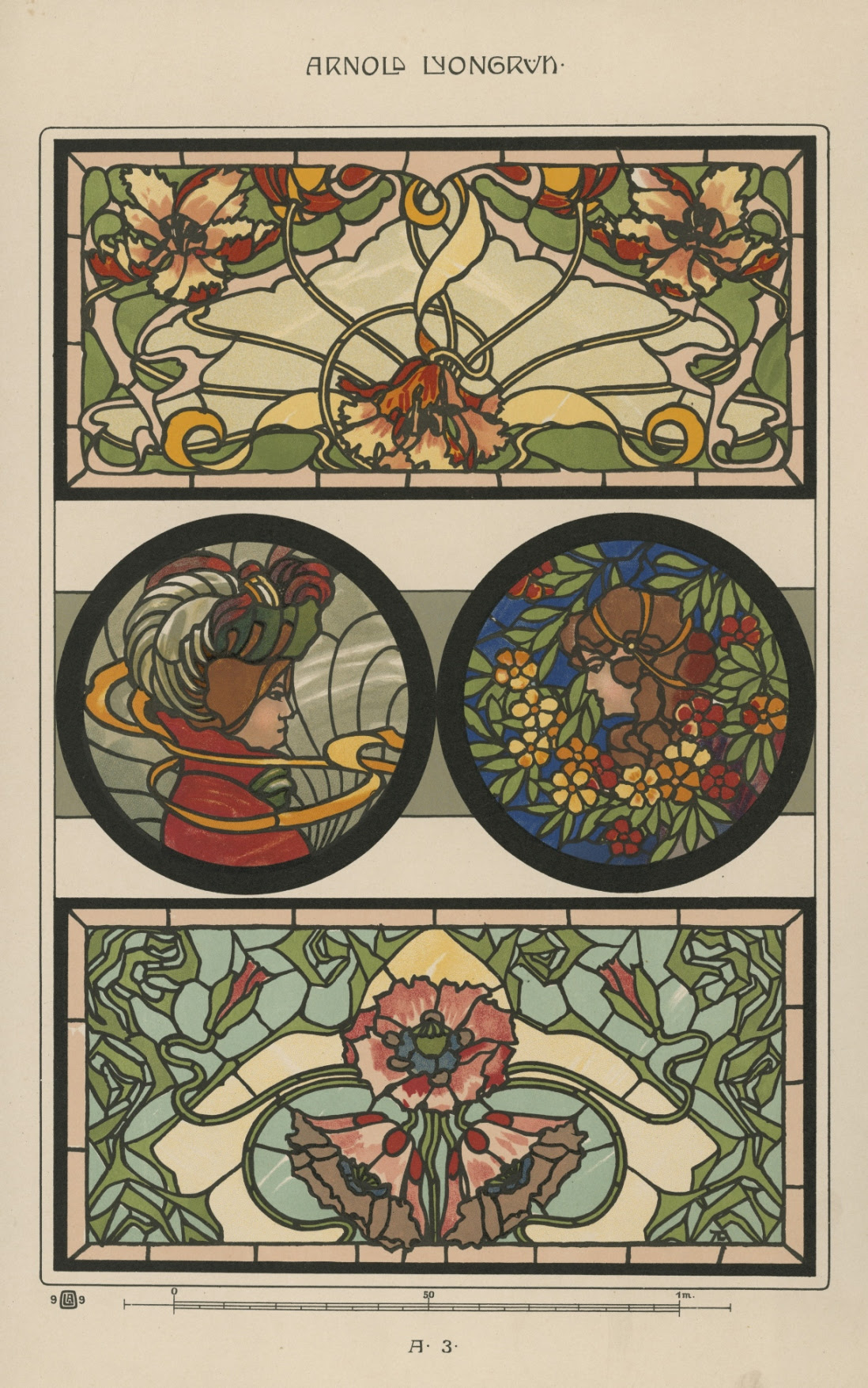 Design for stained glass in Art Nouveau style (Lyongrun plate A 3), from: Arnold Lyongrun, Berlin 1900