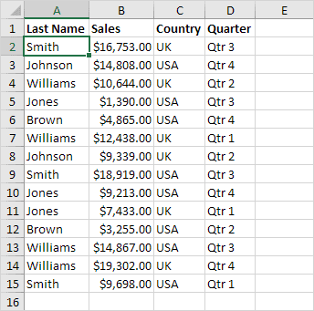 Sort on One Column Example